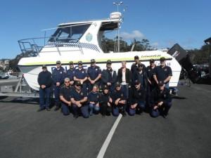 L-R: Tasmania Police Northern Division Marine Services, Bec White MHA , St Helens Marine rescue crew