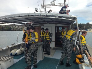 Number one crew disembarks.