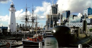 Sea Guardian nested between HMAS Onslow, Cape Bowling Green Lighthouse and HMB Endeavour in Darling Harbour Sydney.
